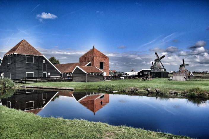 a farm by the pond